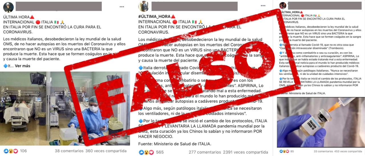 Es falso que médicos italianos encontraron la cura para el coronavirus