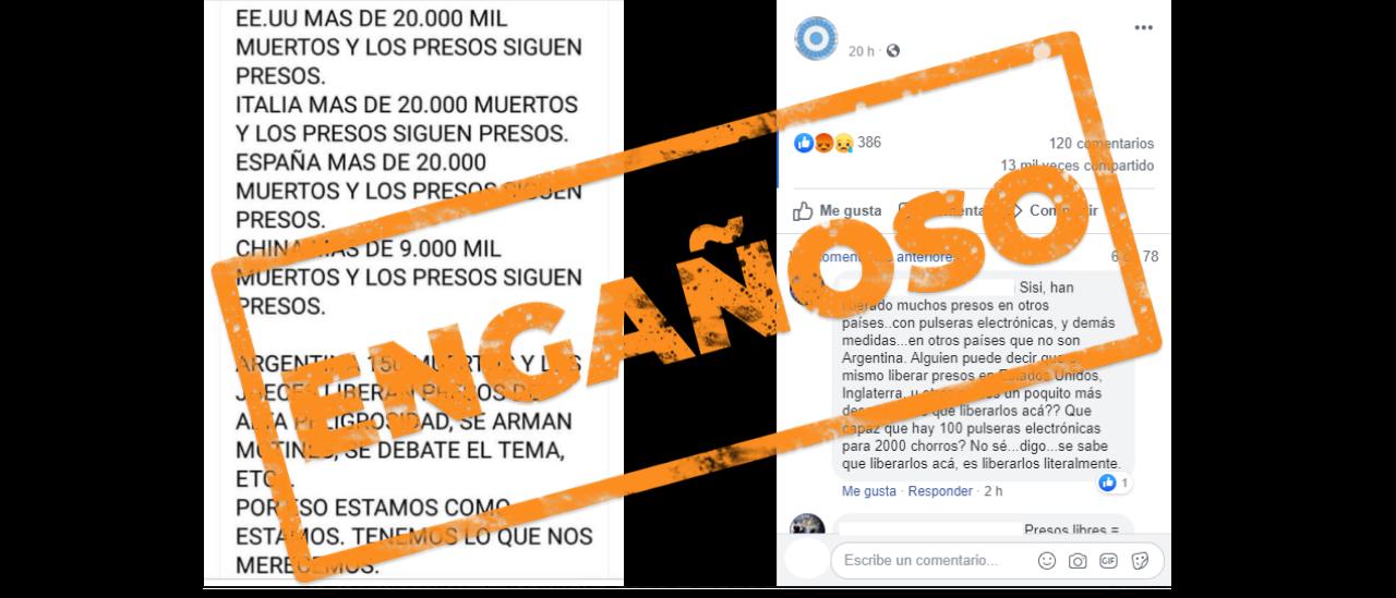 Presos liberados durante la pandemia: es engañoso el posteo que compara a la Argentina con otros países
