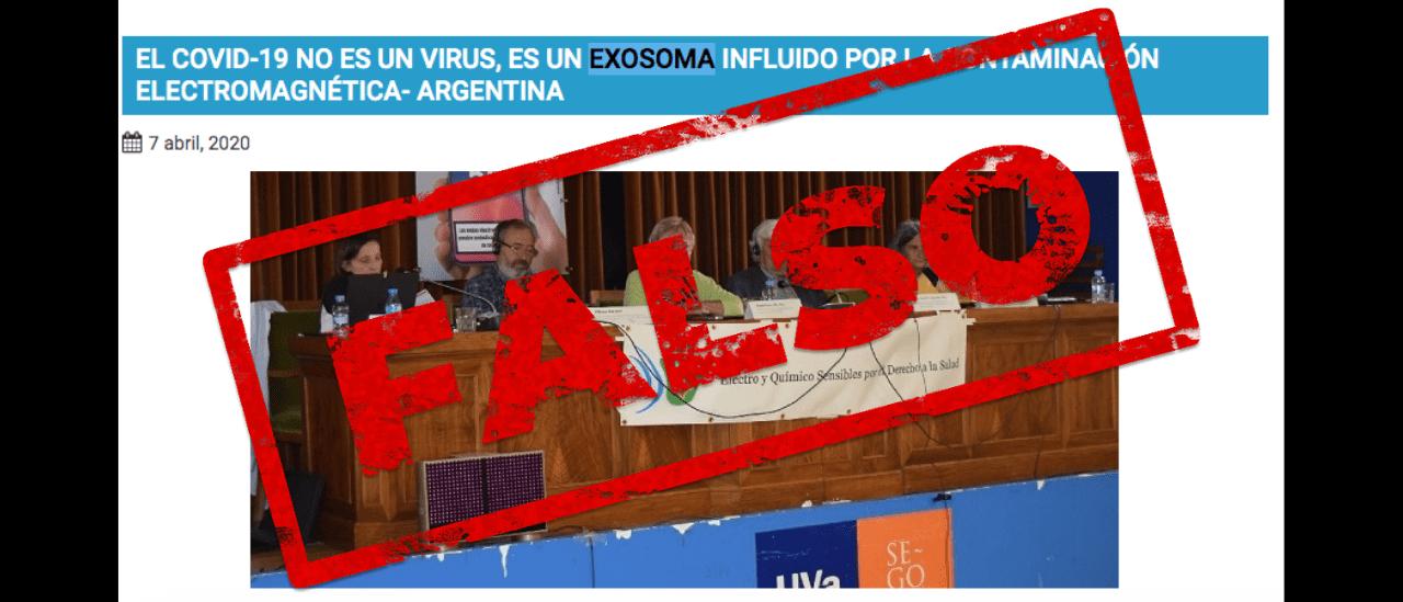 Es falso que la COVID-19 es un exosoma y que la pandemia se relaciona con las señales de 5G