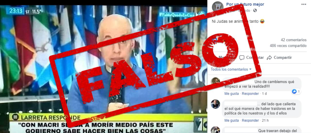 """Es falso este zócalo de Rodríguez Larreta: """"Con Macri se iba a morir medio país, este gobierno sabe hacer bien las cosas"""""""