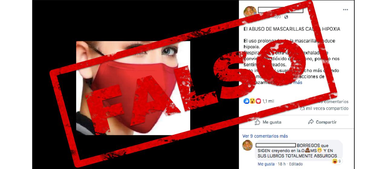 Es falso que el uso o abuso de mascarillas pueda producir hipoxia