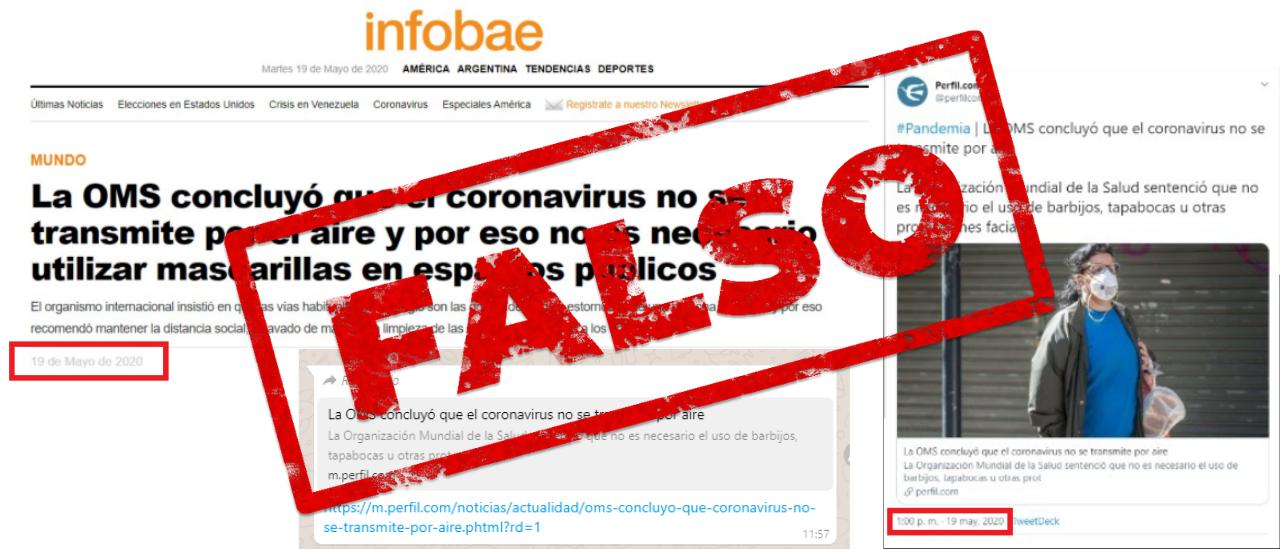 No, la OMS no informó novedades sobre la transmisión del coronavirus en el aire y el uso de tapabocas y barbijos