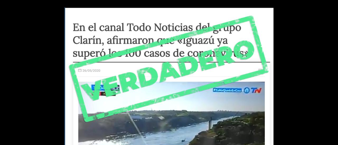 Sí, TN dijo que en Iguazú había 100 casos confirmados por coronavirus, pero el número real es la cuarta parte