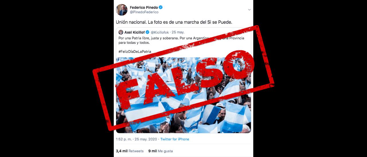 """No, la foto que compartió Kicillof en Twitter no es de una marcha del """"Sí, se puede"""", como afirmó Pinedo"""