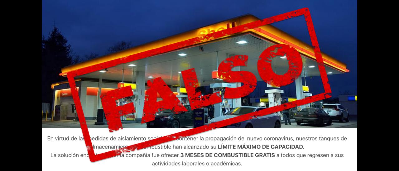 Es falso que Shell ofrece 3 meses de combustible gratis