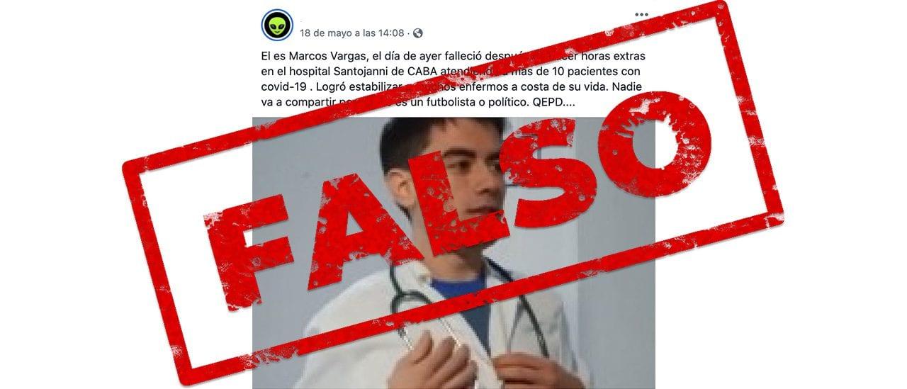 Es falso que el médico Marcos Vargas del Hospital Santojanni falleció por atender pacientes con coronavirus