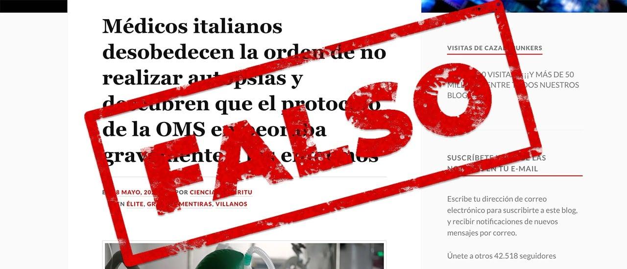 Es falso que la OMS prohíbe las autopsias a muertos por COVID-19 y que en Italia descubrieron que causa trombosis en vez de neumonía