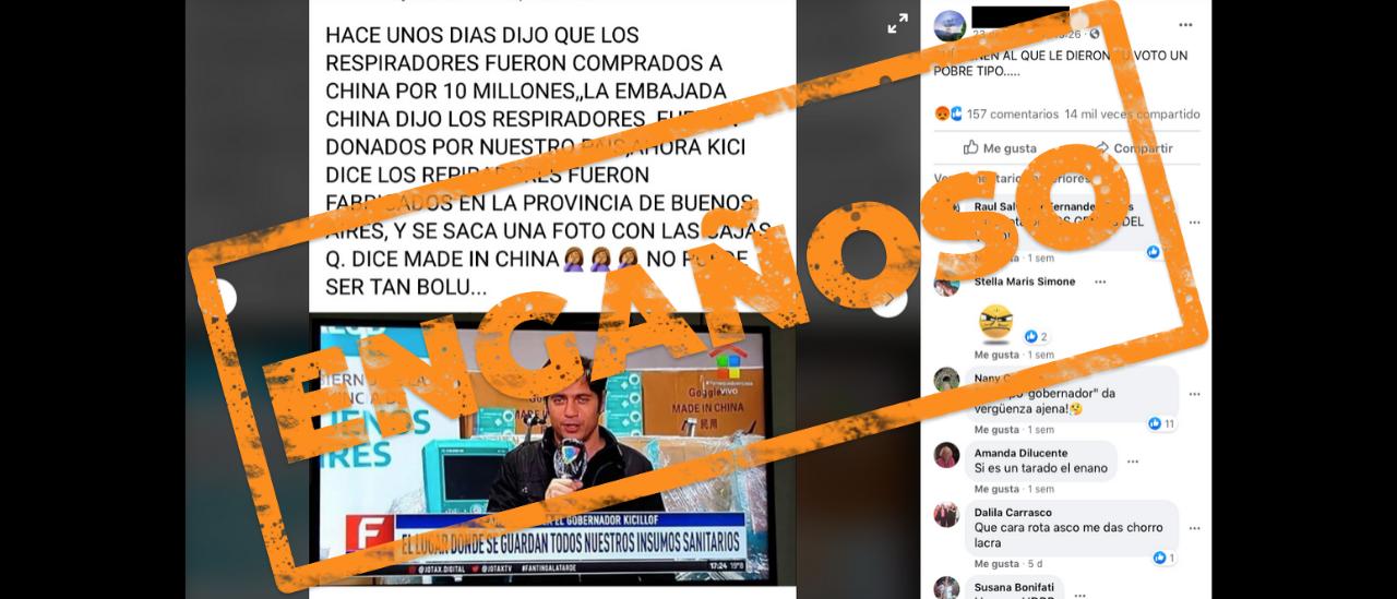 Es engañoso el posteo sobre la compra de respiradores por parte de la Provincia de Buenos Aires