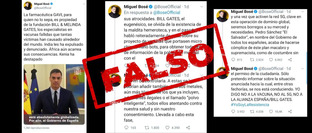 Los mensajes falsos de Miguel Bosé que involucran a Bill Gates, las vacunas y el 5G