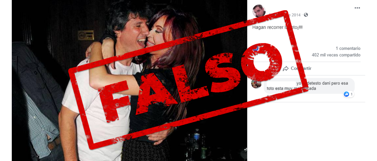 No, esta foto de Amado Boudou con CFK abrazados no es real