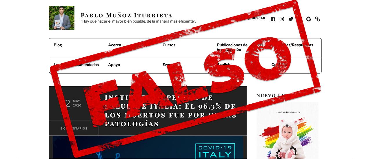 Italia: es falso que el 96,3% de los muertos registrados por COVID-19 fallecieron por otras patologías