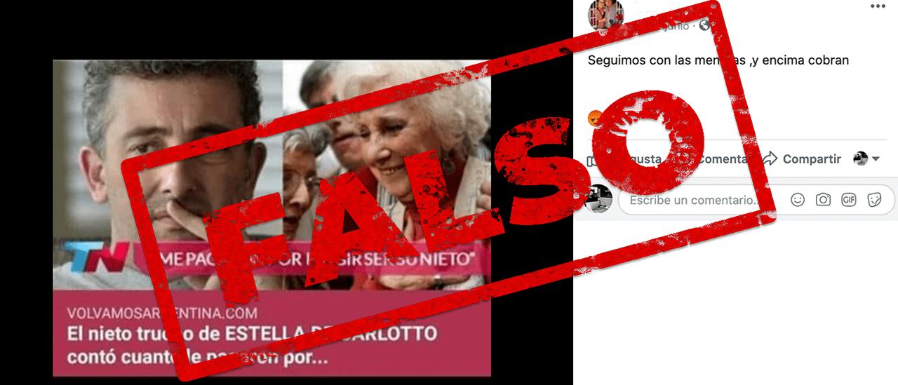 """Es falso que Montoya Carlotto, nieto de Estela, dijo: """"Me pagaron por fingir ser su nieto"""""""