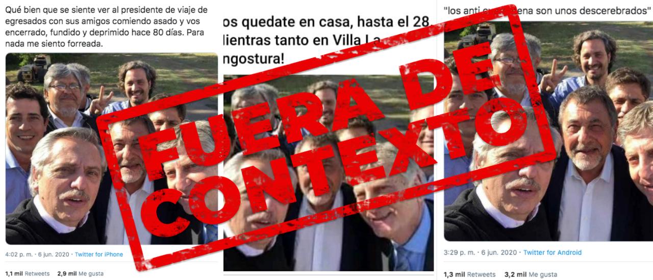 La foto de Alberto Fernández junto a funcionarios no es actual; fue tomada en 2019 en La Pampa