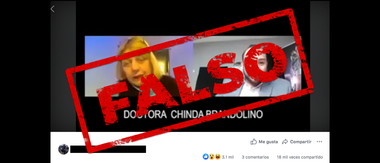 Falsedades sobre la pandemia que aparecen en un video de Chinda Brandolino