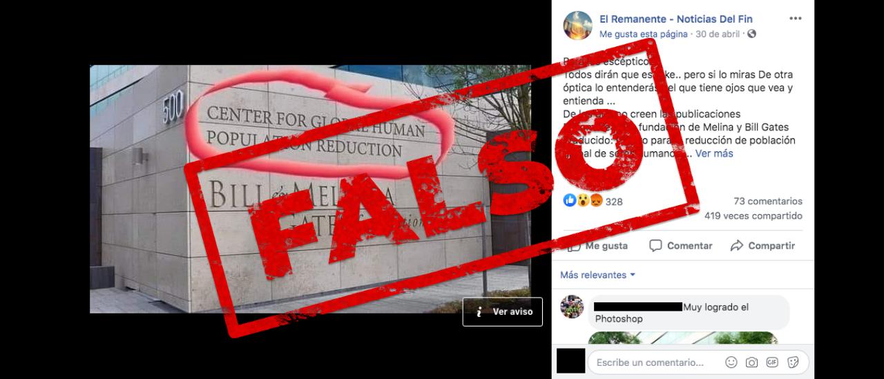 """No, la fachada de la fundación Bill & Melinda Gates no dice """"centro para la reducción de población global de seres humanos"""""""