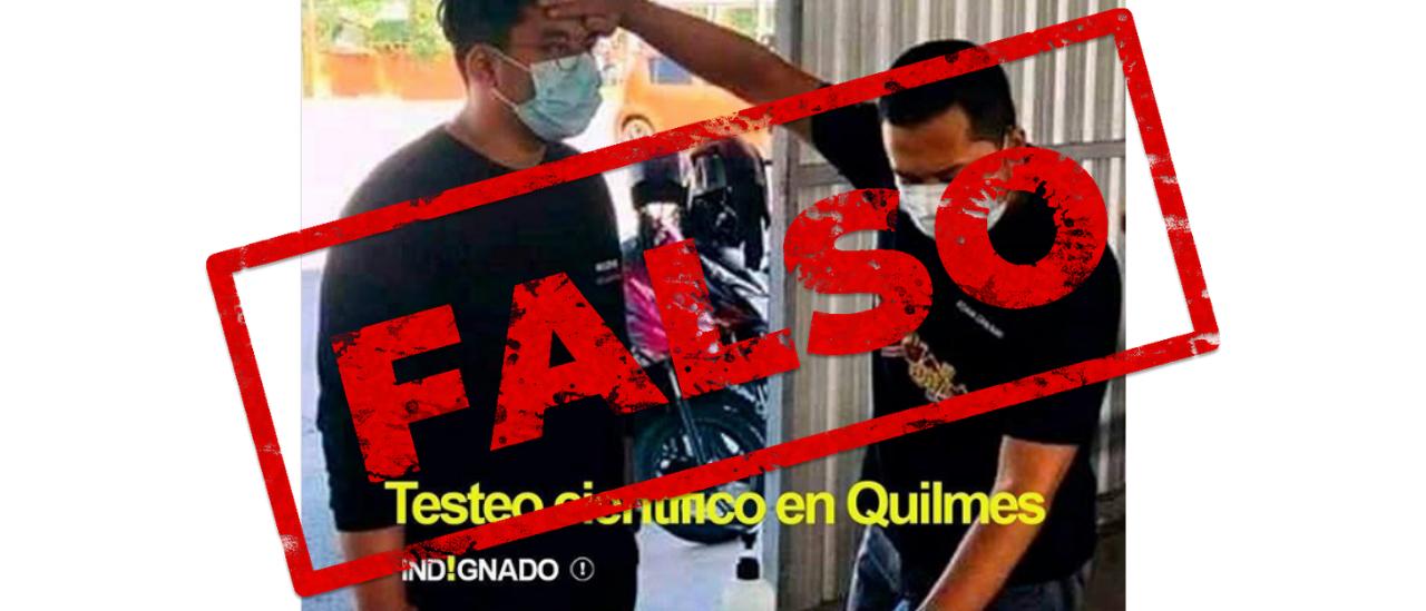 Es falso que la foto de un hombre que toma la fiebre con la mano es en Quilmes