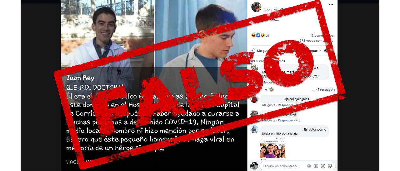 Es falsa la imagen viral de un médico fallecido por atender pacientes con coronavirus en el Hospital Llano de Corrientes