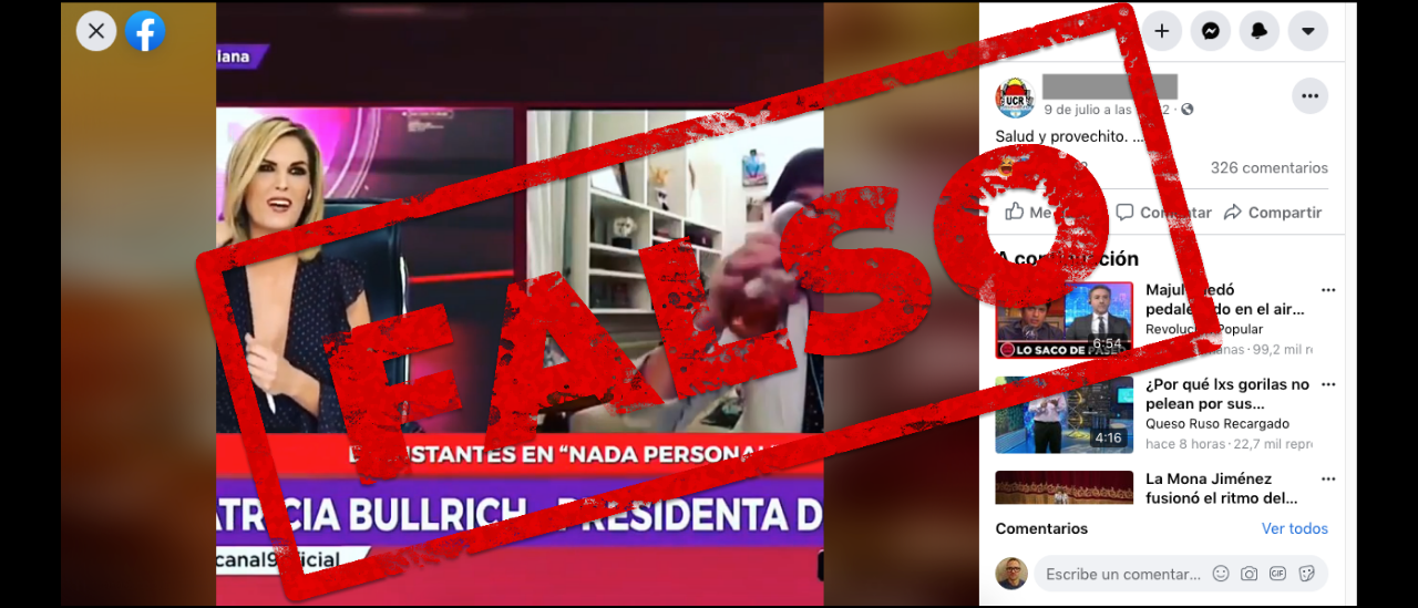 Es falso el video que muestra a Patricia Bullrich eructando en un programa de televisión