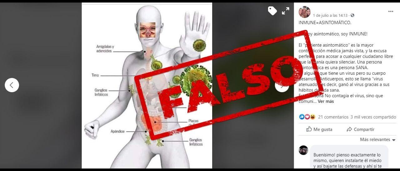 """Es falso que los asintomáticos son inmunes, no contagian el coronavirus y comunican """"anticuerpos"""" al resto de personas"""