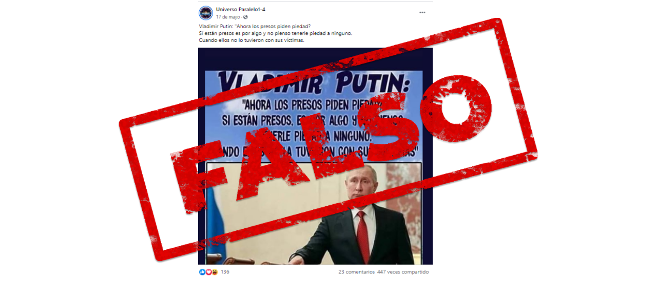 """No, Putin no dijo sobre los presos: """"Si están presos, es por algo. No pienso pedirle piedad a ninguno, cuando ellos no las tuvieron con sus víctimas"""""""