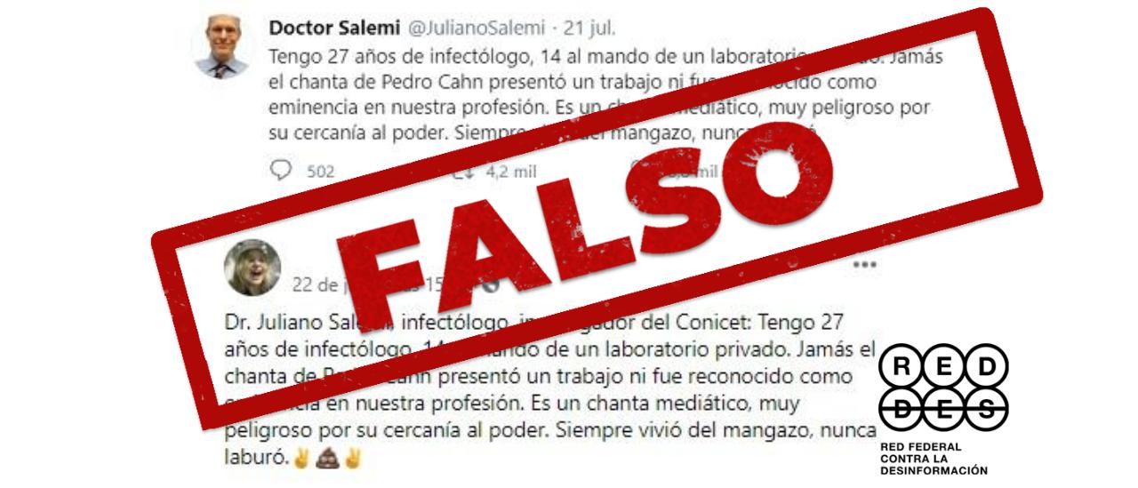 """Es falso el mensaje que asegura que el infectólogo Pedro Cahn no presentó """"un trabajo ni fue reconocido"""""""