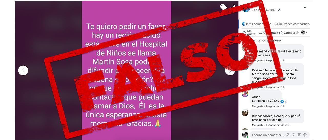 Es falsa la cadena que indica que un recién nacido llamado Martín Sosa está internado en el Hospital de Niños