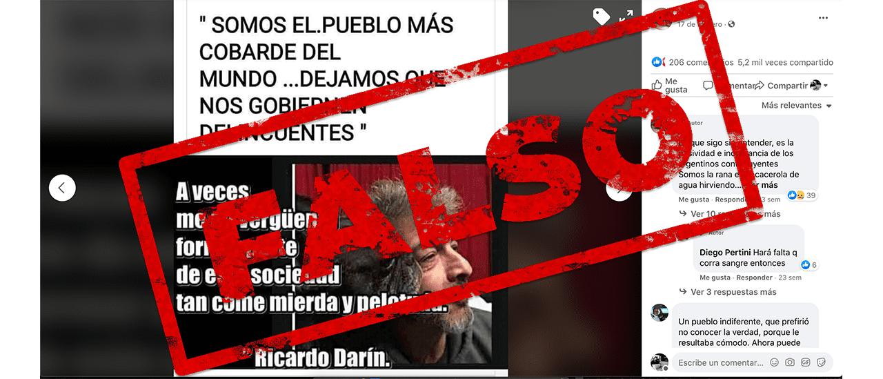 """No, Darín no dijo: """"Somos el pueblo más cobarde del mundo, dejamos que nos gobiernen delincuentes"""""""