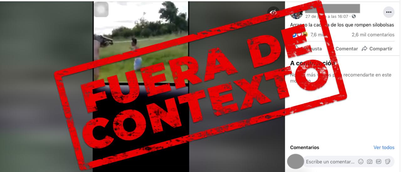 Fue sacado de contexto el video que muestra la persecución a un hombre que habría roto silobolsas