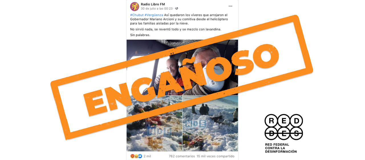 Es engañosa la imagen del operativo de asistencia en Cushamen donde se ven bolsones de alimentos en la nieve