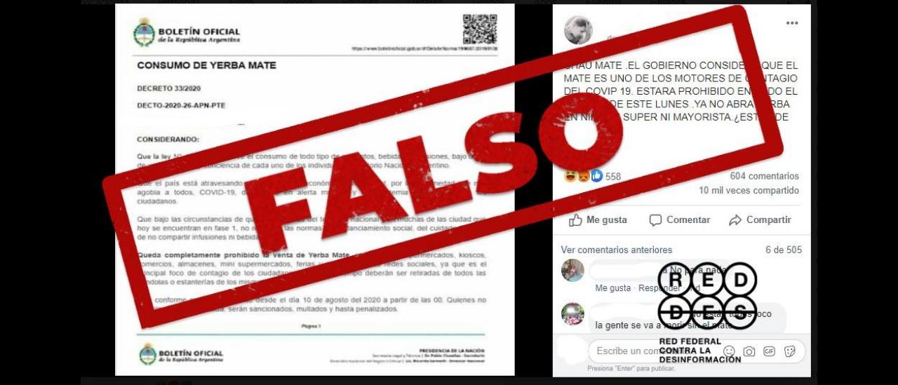 Es falso el decreto que prohíbe la venta y el consumo de yerba mate por el coronavirus