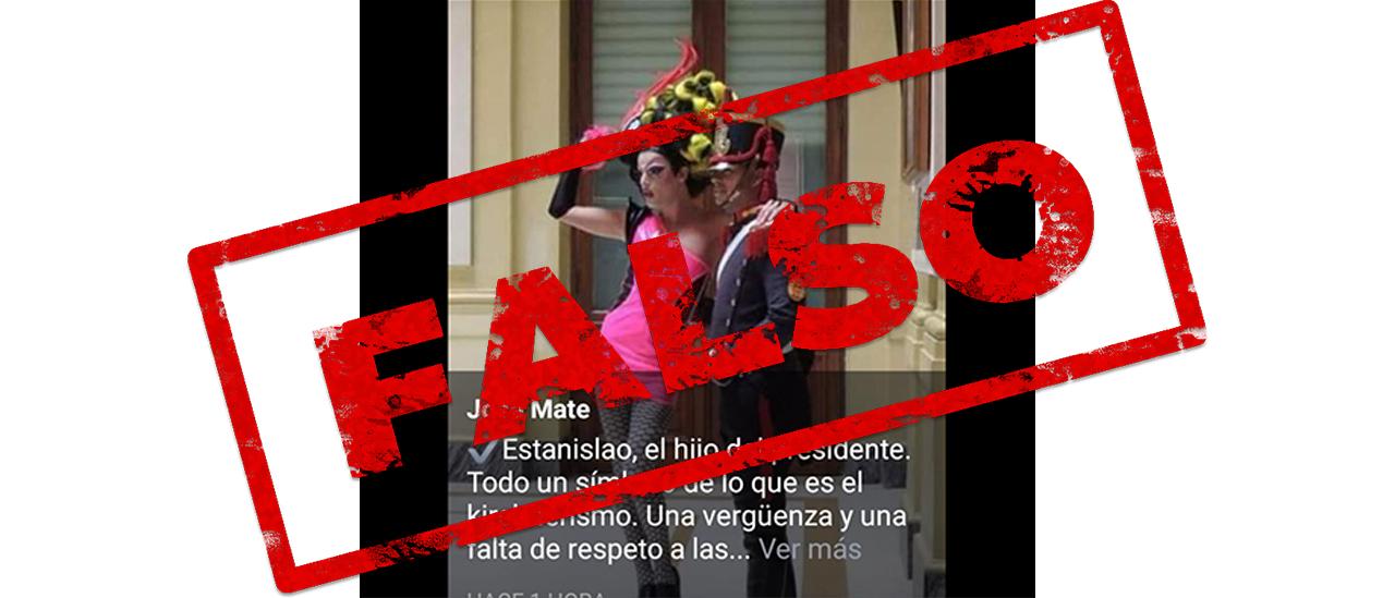 """Es """"Andy McQueen"""" y no Estanislao Fernández, el hijo del Presidente, quien posó en 2013 con un granadero en Casa Rosada"""