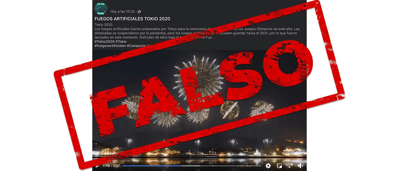 No, el video de los fuegos artificiales en el Monte Fuji no corresponde a lo que hubiera sido la inauguración de los Juegos Olímpicos