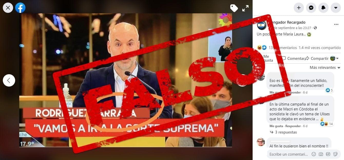 """Es falsa la imagen de un videograph que presenta al jefe de Gobierno porteño como """"Rodríguez Larrata"""""""