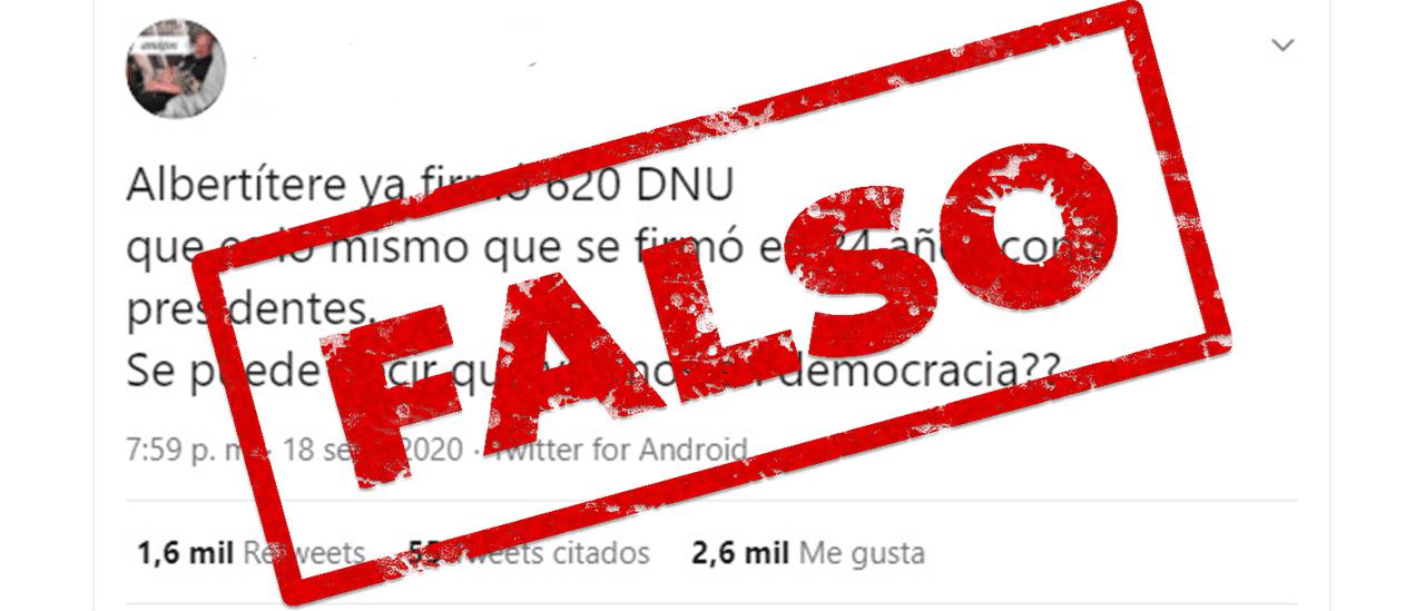 Es falso que Alberto Fernández ya dictó 620 DNU y que alcanzó lo dictado por 8 presidentes en 24 años