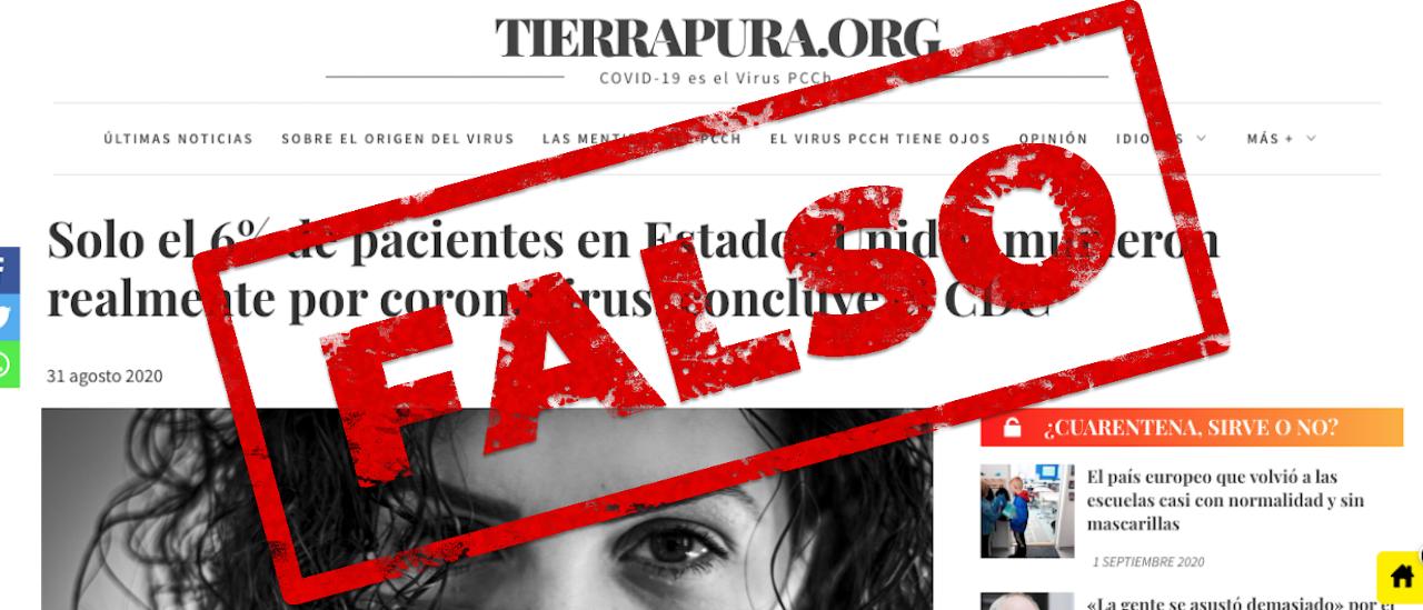 """Es falso afirmar que en Estados Unidos admitieron que sólo un 6% de las muertes informadas fueron """"realmente"""" por coronavirus"""