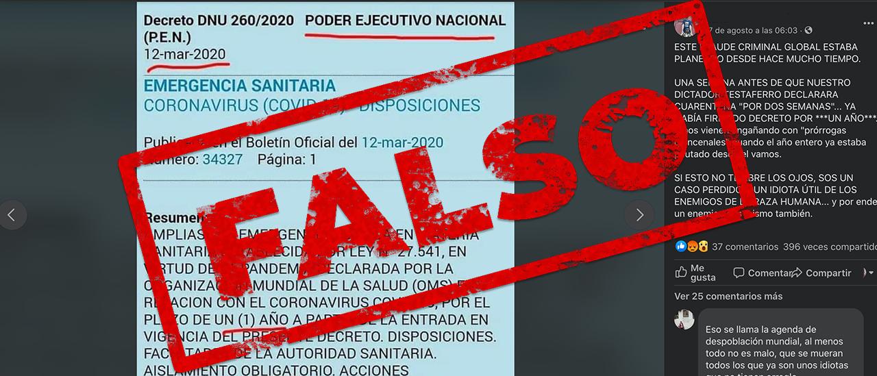 Es falso que el decreto que establece la cuarentena fuera planeado para durar 1 año