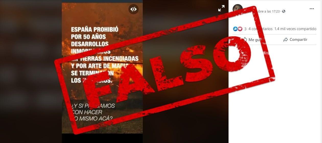 No, la ley que prohíbe el cambio de uso de las tierras incendiadas en España no redujo el número de siniestros