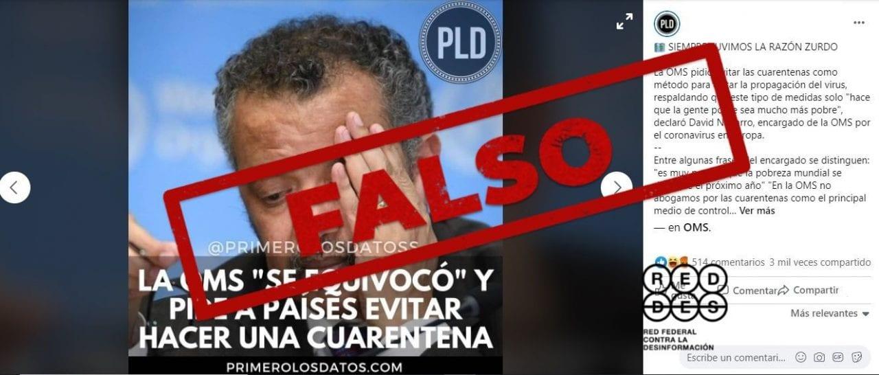 Es falso que la OMS cambió de opinión: desde marzo advierte contra los confinamientos prolongados