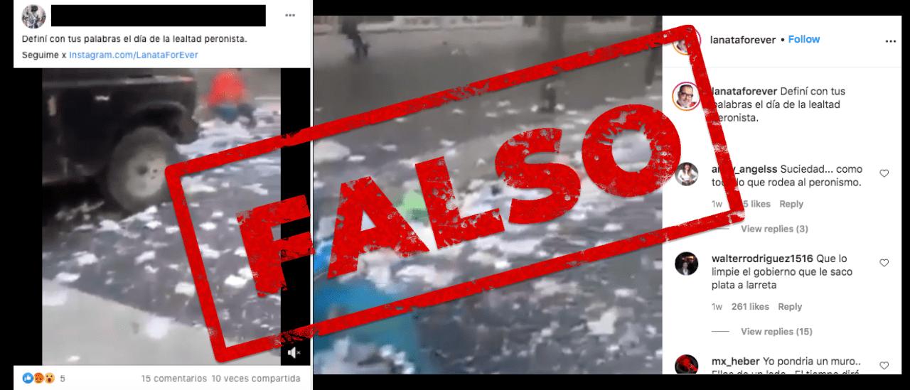 No, el video de la Ciudad de Buenos Aires llena de basura no es del 17 de octubre último, es de 2019