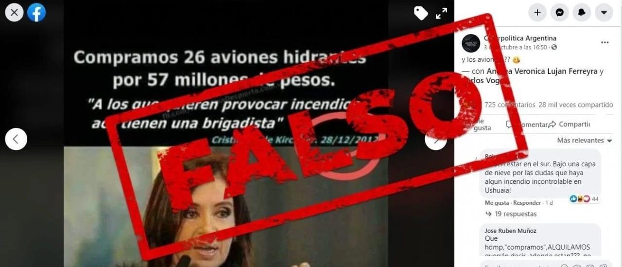 Es falso que Cristina Fernández de Kirchner anunció en 2012 la compra de aviones hidrantes