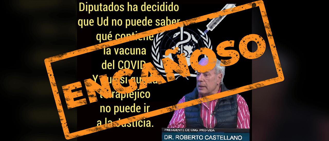 Es engañosa la cita adjudicada a Roberto Castellano sobre la ley de  vacunas contra el coronavirus