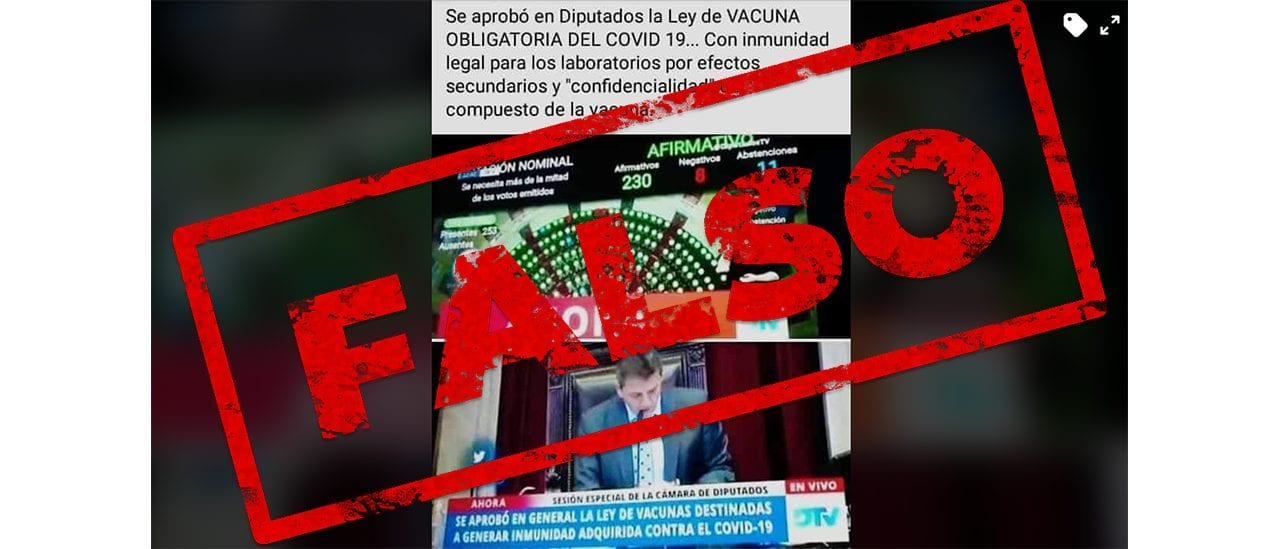 Es falso el posteo sobre la ley que establece la obligatoriedad, la inmunidad legal y la confidencialidad de la vacuna contra el coronavirus