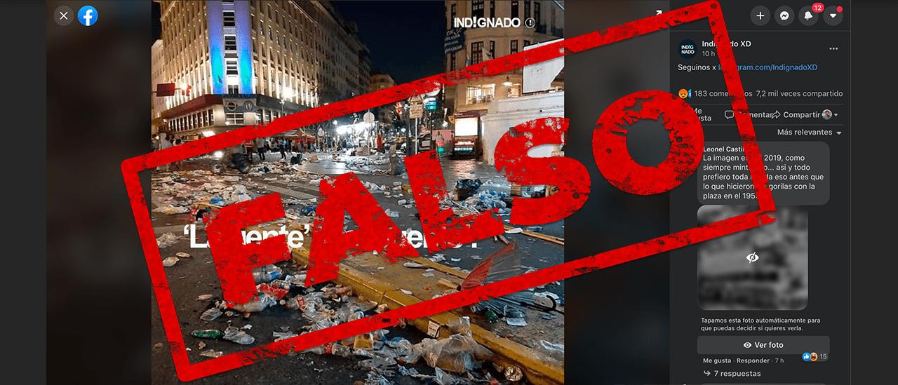 No, la imagen de la Plaza de Mayo repleta de basura no es del 17 de octubre de 2020