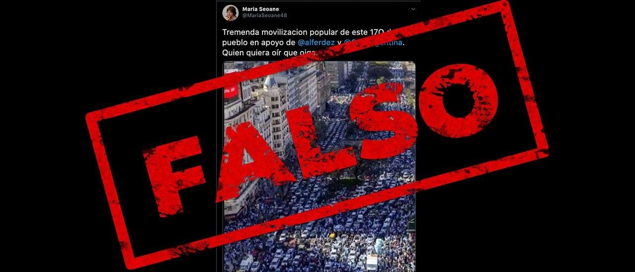 Es falso que la imagen de la avenida 9 de Julio corresponde a la marcha del 17 de octubre