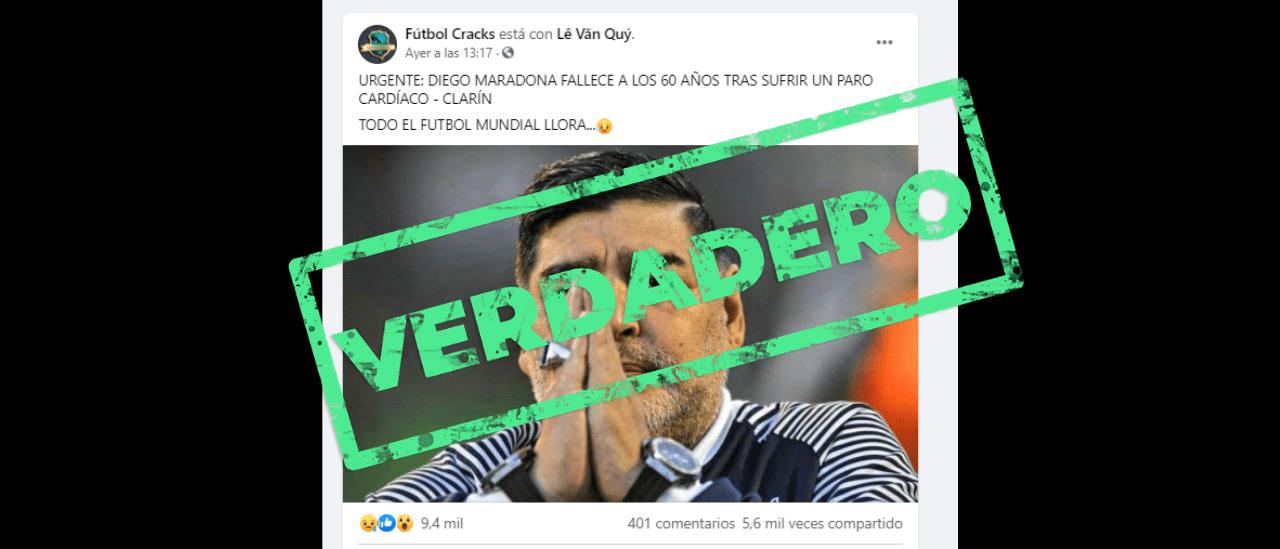 Es verdadero que murió Diego Armando Maradona