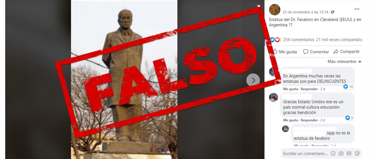 No, esta foto de la estatua de Favaloro no es de Estados Unidos, sino de Escobar