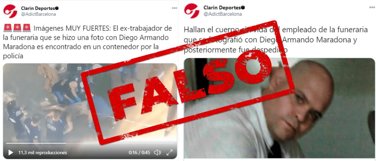No es de Clarín el tuit sobre el hallazgo del cuerpo sin vida del empleado que se fotografió con Maradona, y es viejo el video que circula de un cuerpo en un container
