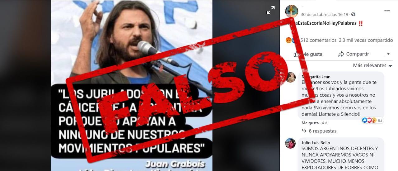 """No, Grabois no dijo que """"los jubilados son el cáncer"""" del país porque no apoyan a los movimientos populares"""