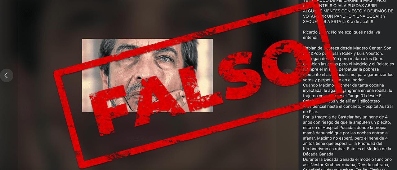 Es falsa la carta contra el kirchnerismo adjudicada a Ricardo Darín