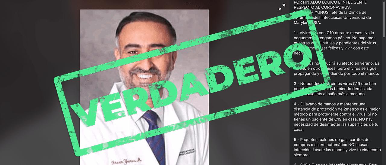 Sí, son verdaderas las recomendaciones del doctor Fahem Younus sobre el coronavirus